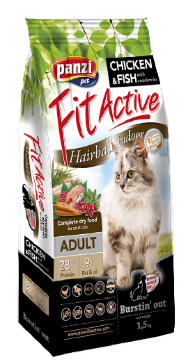FitActive Hairball-Indoor ADULT CAT 1,5kg & 300g